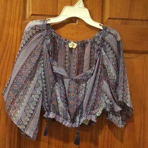 Purple patterned crop top